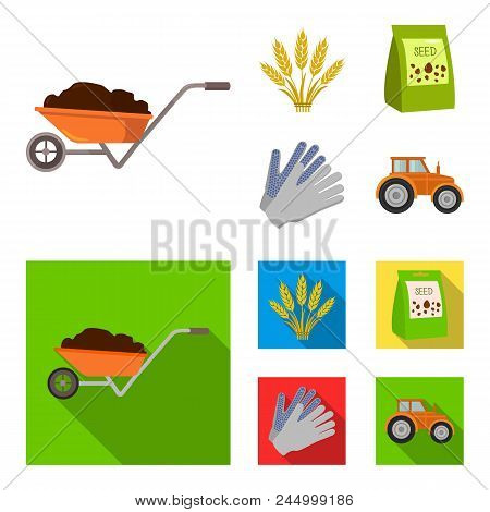 Spikelets Of Wheat, A Packet Of Seeds, A Tractor, Gloves.farm Set Collection Icons In Cartoon, Flat