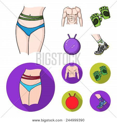 Men's Torso, Gymnastic Gloves, Jumping Ball, Sneakers. Fitnes Set Collection Icons In Cartoon,flat S