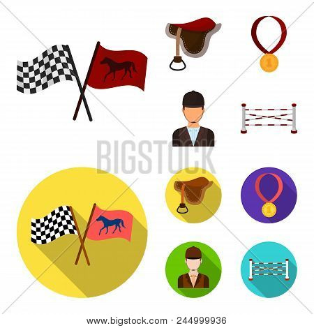 Saddle, Medal, Champion, Winner .hippodrome And Horse Set Collection Icons In Cartoon, Flat Style Ve