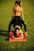cheerful yoga. Bodycare women training on summer day. Bodycare, wellness, healthcare health poster