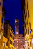 Street Night Palazzo Vecchio Town Hall Florence Tuscany Italy. poster