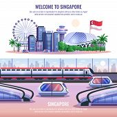 Singapore horizontal banners with modern metropolis architecture and autonomous unmanned vehicles and headline welcome to singapore  vector illustration poster