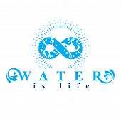 Mountain water spring conceptual logo, limitless symbol. Water cleaning company conceptual emblem. poster