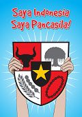 An Illustration of man hold Pancasila Shield, marks the date of Sukarno's 1945 address on the national ideology poster