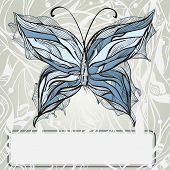 vector hand drawn beautiful butterfly vintage style frame for your text poster