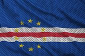Cabo Verde flag printed on a polyester nylon sportswear mesh fabric with some folds poster