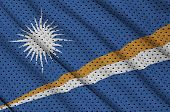 Marshall Islands flag printed on a polyester nylon sportswear mesh fabric with some folds poster