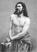 Jesus Christ perfomed by Joseph Mair in the Oberammergau Passion Play. Engraved by anonymous engraver and published in The Graphic newspaper, United Kingdom, 1870. poster