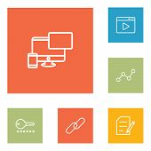 Set of 6 search icons line style set. Collection of movie, monitoring, keyword and other elements. poster