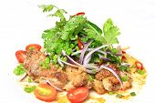 Grilled chicken spicy and sour flavor garnish with coriander and spring onion poster