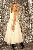 Little girl in fashionable dress, prom. Look, hairdresser, makeup. look fashion and beauty poster