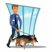 Caucasian Police officer with dog, canine security policeman officer and watchdog, man in uniform holding German Shepherd, cartoon cop isolated on white vector illustration. poster