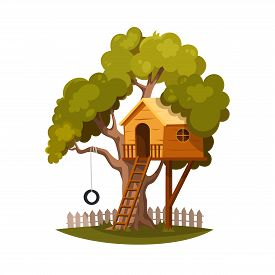 Tree House For Playing And Joyful Children. House On Tree For Kids. Children Playground With Ladder