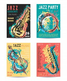 Jazz Music Party With Musical Instruments. Saxophone, Guitar, Cello, Drum Kit With Grunge Watercolor