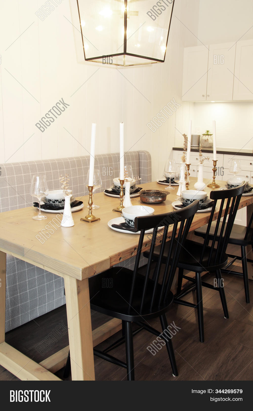 Wooden Kitchen Table Image Photo