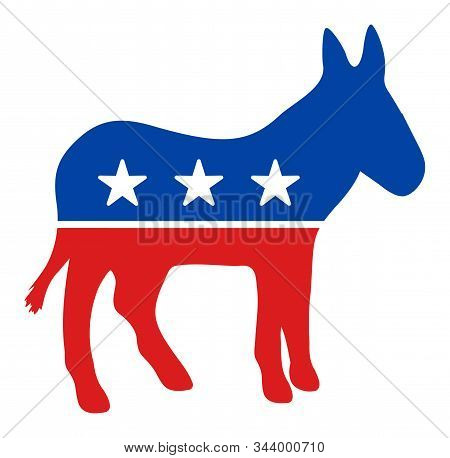 Democratic Donkey Vector Icon. Flat Democratic Donkey Pictogram Is Isolated On A White Background.