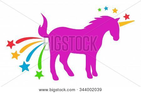 Farting Unicorn Vector Icon. Flat Farting Unicorn Pictogram Is Isolated On A White Background.