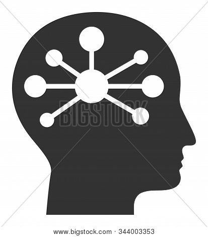 Human Intellect Vector Icon. Flat Human Intellect Pictogram Is Isolated On A White Background.