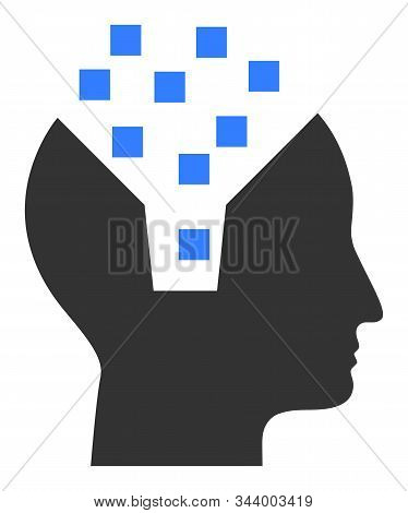Human Memory Vector Icon. Flat Human Memory Pictogram Is Isolated On A White Background.
