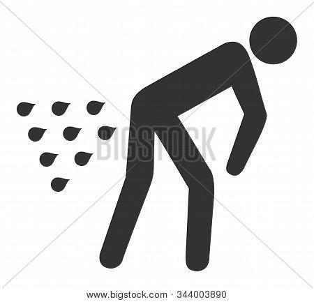 Man Diarrhea Vector Icon. Flat Man Diarrhea Symbol Is Isolated On A White Background.