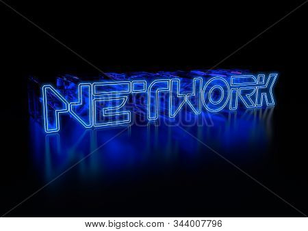 Network. Realistic 3d Blue Illustration. 3d Rendering