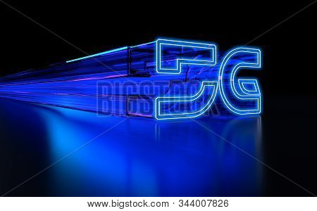 High Speed Internet 5g Technology With Blue Abstract Futuristic Background. 3d Rendering