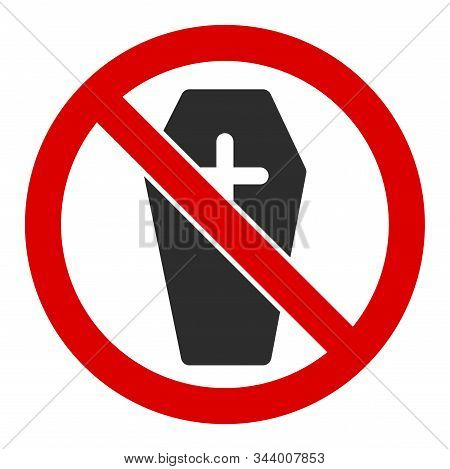 No Coffin Vector Icon. Flat No Coffin Pictogram Is Isolated On A White Background.