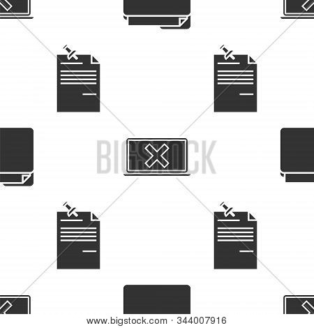 Set Document Folder, Laptop And Cross Mark On Screen And Note Paper With Pinned Pushbutton On Seamle