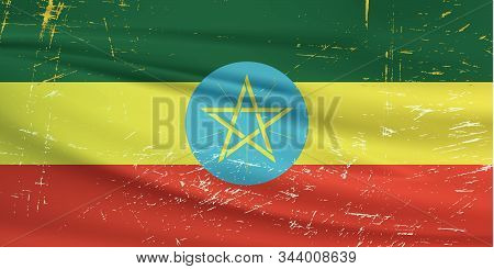 Grunge Ethiopia Flag. Ethiopia Flag With Waving Grunge Texture. Vector Background.
