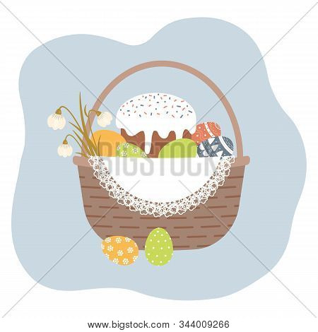 Easter Basket With Cute Decorated Easter Eggs,kulich And Snowdrop Flowers On White Openwork Vintage