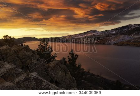 Fiery Sky At Horsetooth Reservoir