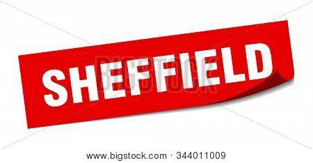 Sheffield Sticker. Sheffield Red Square Peeler Sign