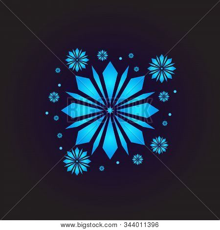 Snow Element. Blue Snow With A Black Background. Snow Vector Collection. Snow Hand Cover For The Des
