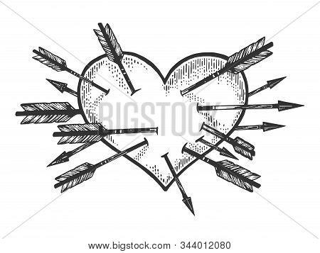 Heart Symbol Pierced With Many Arrows Sketch Engraving Vector Illustration. Romantic Love Lovesickne