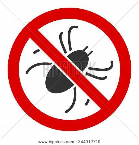No Mite Vector Icon. Flat No Mite Symbol Is Isolated On A White Background.