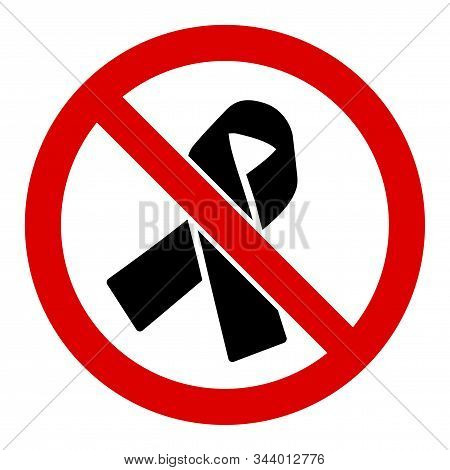 No Mourning Ribbon Vector Icon. Flat No Mourning Ribbon Symbol Is Isolated On A White Background.