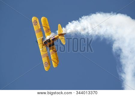 Bloemfontein, South Africa - August 12, 2006: A Boeing-stearman Model 75 Performing At An Airshow At