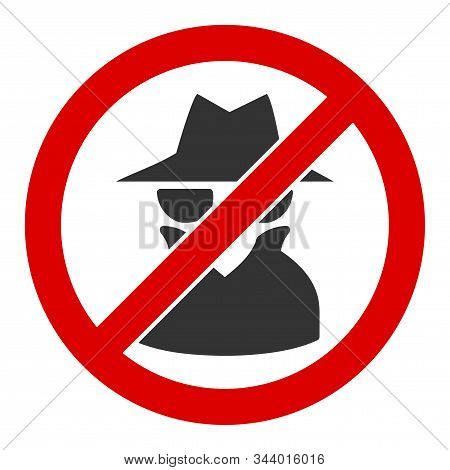 No Spy Vector Icon. Flat No Spy Symbol Is Isolated On A White Background.