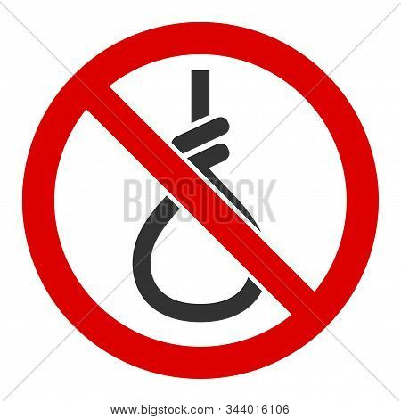No Suicide Loop Vector Icon. Flat No Suicide Loop Symbol Is Isolated On A White Background.