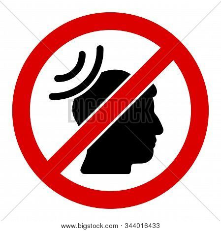 No Telepathy Waves Vector Icon. Flat No Telepathy Waves Symbol Is Isolated On A White Background.