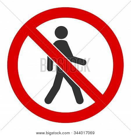 No Trespassing Vector Icon. Flat No Trespassing Pictogram Is Isolated On A White Background.