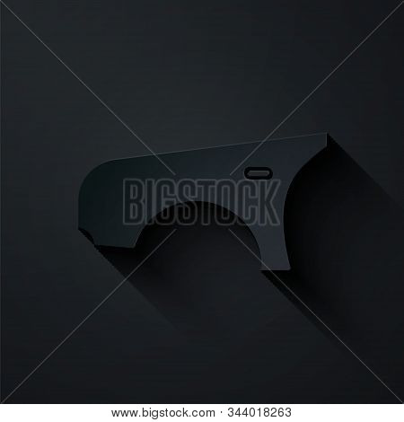 Paper Cut Car Fender Icon Isolated On Black Background. Paper Art Style. Vector Illustration
