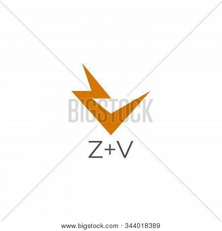Vector Of Letter Zv Thunder Energy Geometric Design Concept