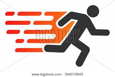 Rush Running Man Vector Icon. Flat Rush Running Man Symbol Is Isolated On A White Background.