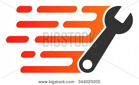 Rush Wrench Vector Icon. Flat Rush Wrench Symbol Is Isolated On A White Background.