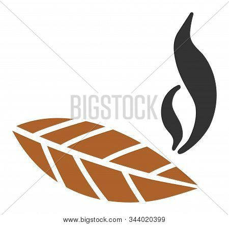 Smoking Tobacco Leaf Vector Icon. Flat Smoking Tobacco Leaf Symbol Is Isolated On A White Background