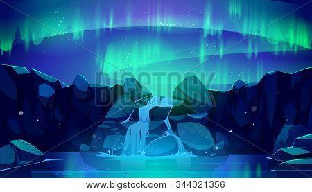 Aurora Borealis In Night Sky And Waterfall. Vector Cartoon Illustration Of Northen Lights, Starry Sp