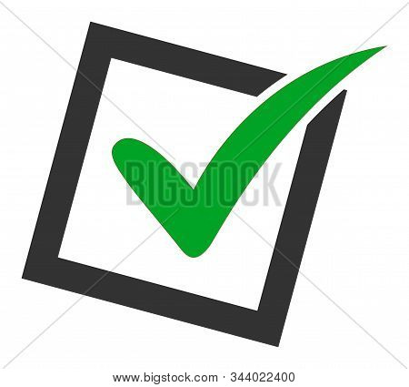Yes Poll Vector Icon. Flat Yes Poll Pictogram Is Isolated On A White Background.