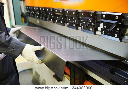 hydraulic press brake or bending machine for flat sheet metal.