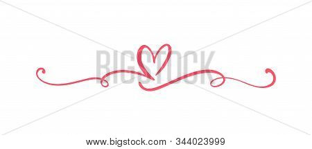 Heart Love Sign Logo. Design Flourish Element Valentine Card For Divider. Vector Illustration. Infin